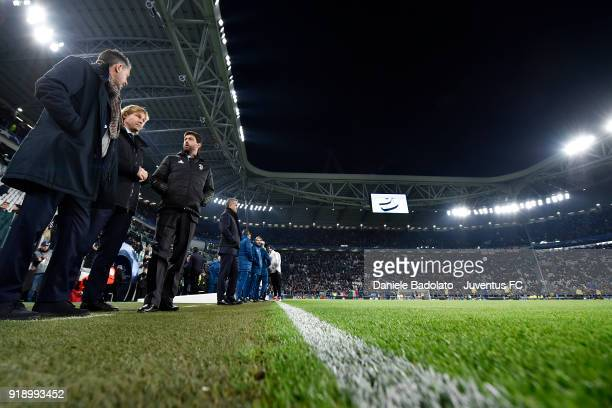 Fabio Paratici Pavel Nedved and Andrea Agnelli during the UEFA Champions League Round of 16 First Leg match between Juventus and Tottenham Hotspur at...