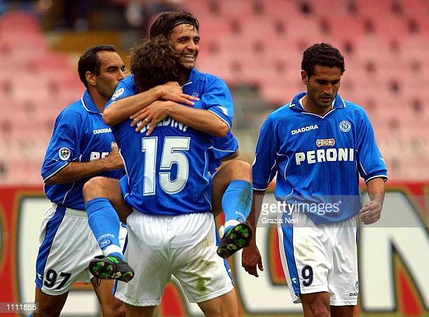 Fabio Pecchia of Napoli celebrating his goal during the Serie A 31st Round League match between Napoli and Verona played at the San Paolo Stadium...