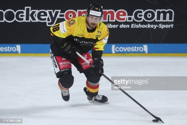 Fabio Pfohl of Germany during the international friendly game between Germany and USA ahead of the 2019 IIHF Ice Hockey World Championship at SAP...