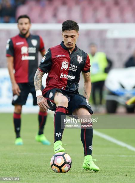 Fabio Pisacane of Cagliari Calcio in action during the Serie A match between SSC Napoli and Cagliari Calcio at Stadio San Paolo on May 6 2017 in...