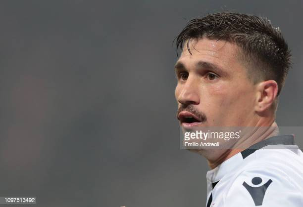 Fabio Pisacane of Cagliari Calcio looks on during the Serie A match between AC Milan and Cagliari at Stadio Giuseppe Meazza on February 10 2019 in...
