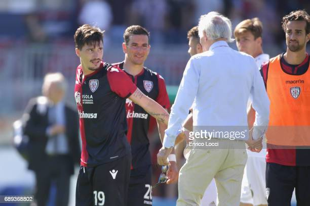 Fabio Pisacane of Cagliari celebrated his goal 21 during the Serie A match between Cagliari Calcio and AC Milan at Stadio Sant'Elia on May 28 2017 in...