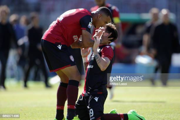 Fabio Pisacane of Cagliari celebrates his goal to make it 21 during the Serie A match between Cagliari Calcio and AC Milan at Stadio Sant'Elia on May...