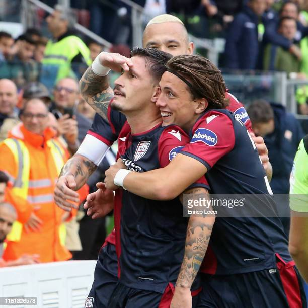 Fabio Pisacane of Cagliari celebrates scoring his team's second goal during the Serie A match between Cagliari Calcio and ACF Fiorentina at Sardegna...