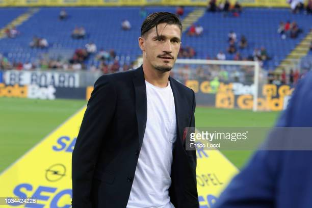 Fabio Pisacane of Cagliari looks on during the serie A match between Cagliari and AC Milan at Sardegna Arena on September 16 2018 in Cagliari Italy