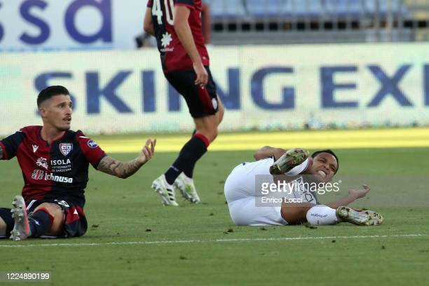 Fabio Pisacane of Cagliari on the ground during the Serie A match between Cagliari Calcio and Atalanta BC at Sardegna Arena on July 5 2020 in...
