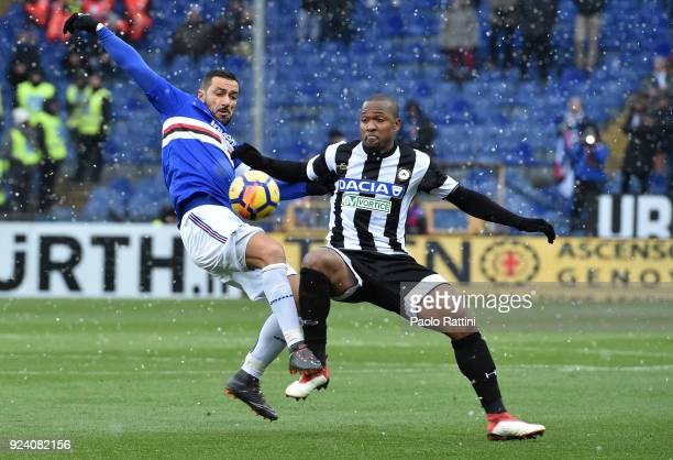 Fabio Quaglarella of Sampdoria opposed to Samir of Udinese during the serie A match between UC Sampdoria and Udinese Calcio at Stadio Luigi Ferraris...