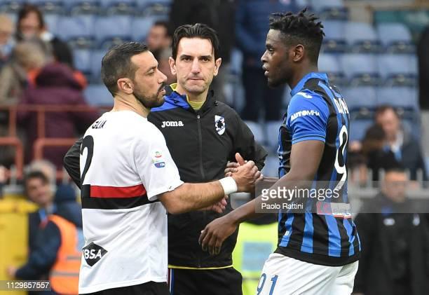 Fabio Quagliagliarella of UC Sampdoria and Duvan Zapata of Atalanta BC at the end of Serie A match between UC Sampdoria and Atalanta BC at Stadio...