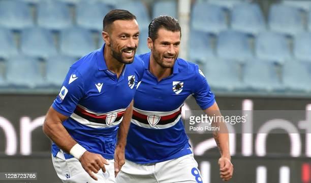 Fabio Quagliarella and Antonio Candreva of UC Sampdoria celebrate after first goal during the Serie A match between UC Sampdoria and Benevento Calcio...