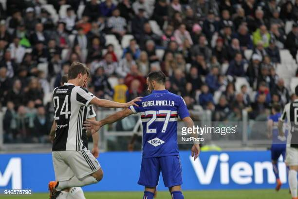 Fabio Quagliarella and Daniele Rugani during the Serie A football match between Juventus FC and US Sampdoria at Allianz Stadium on 15 April 2018 in...