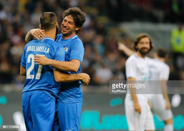 Fabio Quagliarella and Demetrio Albertini during La Notte del Maesto the last match of Andrea Pirlo in Milan on May 21 2018