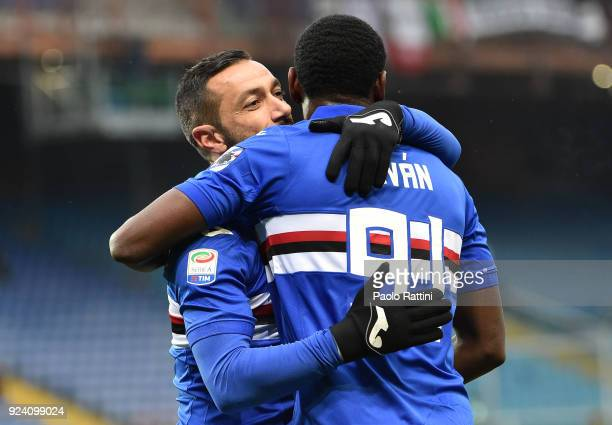 Fabio Quagliarella and Duvan Zapata of Sampdoria celebrate after the goal 20 during the serie A match between UC Sampdoria and Udinese Calcio at...