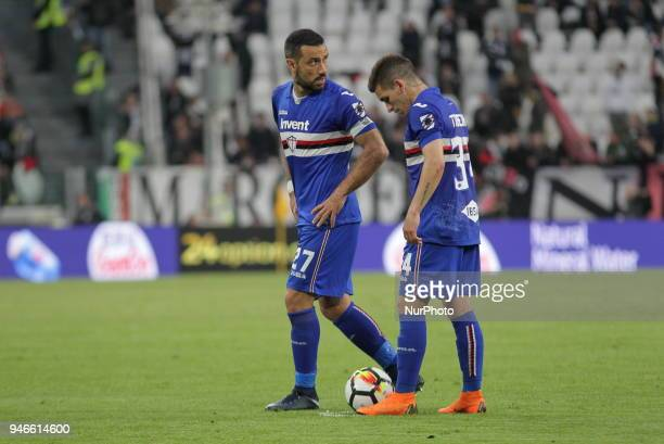 Fabio Quagliarella and Lucas Sebastian Torreira during the Serie A football match between Juventus FC and US Sampdoria at Allianz Stadium on 15 April...