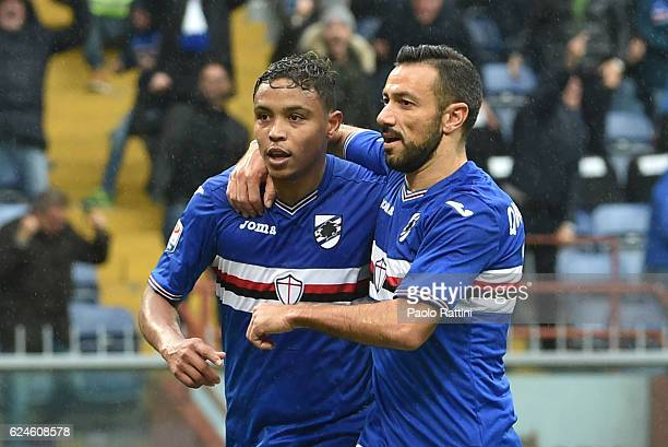 Fabio Quagliarella and Luis Muriel celebrates after goal 32 during the Serie A match between UC Sampdoria and US Sassuolo at Stadio Luigi Ferraris on...