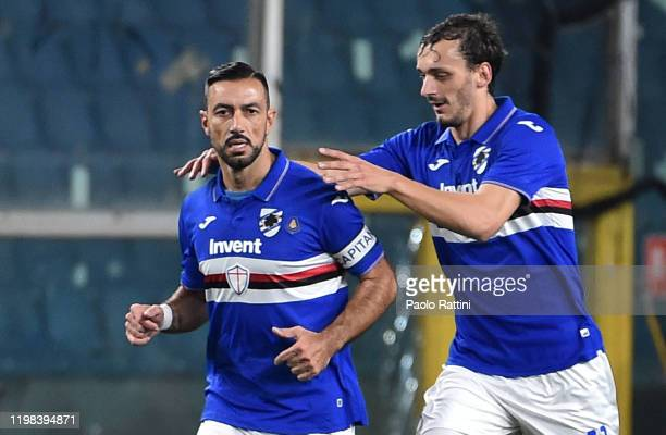 Fabio Quagliarella and Manolo Gabbiadini of UC Sampdoria celebrate after scoring their team's first goal during the Serie A match between UC...