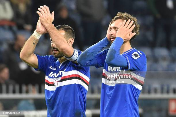Fabio Quagliarella and Manolo Gabbiadini of UC Sampdoria react at the end of Serie A match between UC Sampdoria and AS Roma at Stadio Luigi Ferraris...
