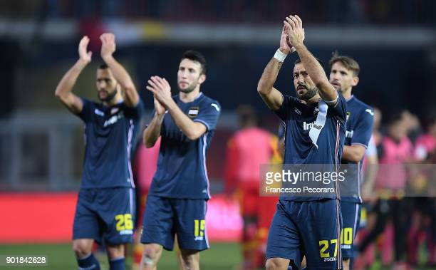 Fabio Quagliarella and players of UC Sampdoria show their disappointment after the serie A match between Benevento Calcio and UC Sampdoria at Stadio...