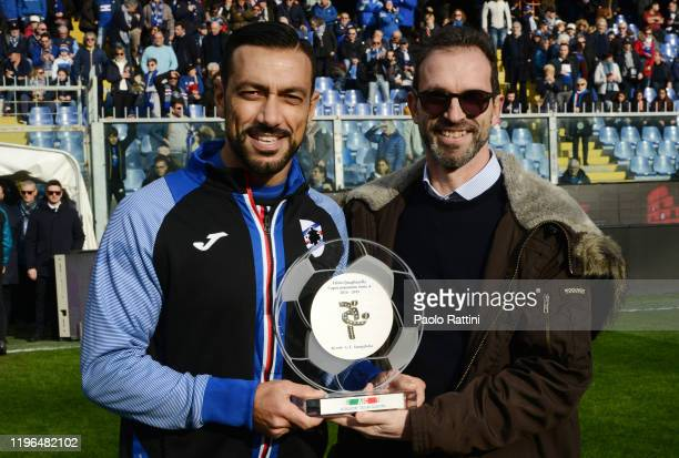 Fabio Quagliarella awarDed by AIC as the best top scorer of 201819 before the Serie A match between UC Sampdoria and US Sassuolo at Stadio Luigi...