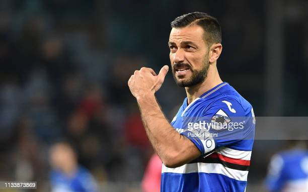 Fabio Quagliarella captain of UC Sampdoria during the Serie A match between UC Sampdoria and AC Milan at Stadio Luigi Ferraris on March 30 2019 in...