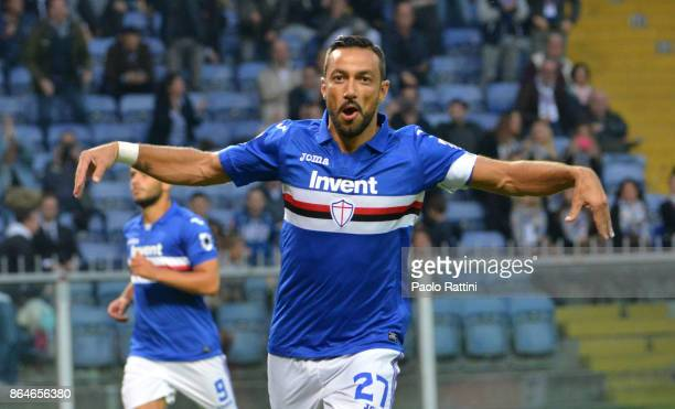 Fabio Quagliarella celebrate after 20 during the Serie A match between UC Sampdoria and FC Crotone at Stadio Luigi Ferraris on October 21 2017 in...