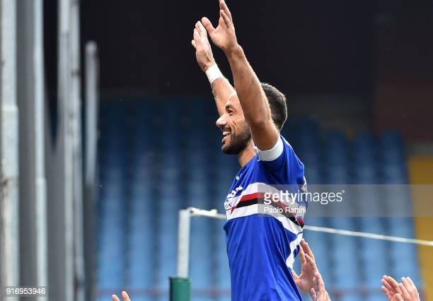 Fabio Quagliarella celebrates after penalty 20 during the serie A match between UC Sampdoria and Hellas Verona FC at Stadio Luigi Ferraris on...