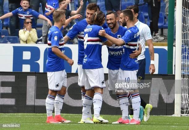 Fabio Quagliarella celebrates after scoring a goal 10 during the Serie A match between UC Sampdoria and AC ChievoVerona at Stadio Luigi Ferraris on...