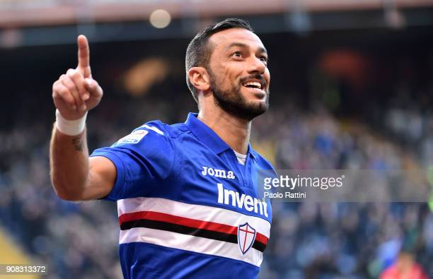 Fabio Quagliarella celebrates after scoring goal 20 during the serie A match between UC Sampdoria and ACF Fiorentina at Stadio Luigi Ferraris on...