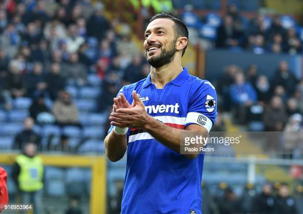 Fabio Quagliarella celebrates during the serie A match between UC Sampdoria and Hellas Verona FC at Stadio Luigi Ferraris on February 11 2018 in...