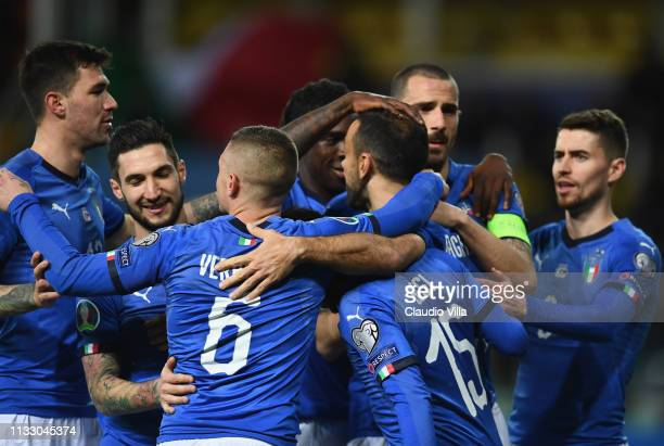 Fabio Quagliarella celebrates his goal of 40 with teammates during the 2020 UEFA European Championships group J qualifying match between Italy and...