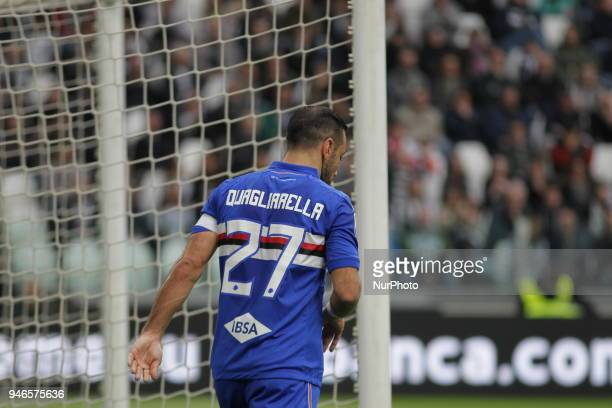 Fabio Quagliarella disappointed during the Serie A football match between Juventus FC and US Sampdoria at Allianz Stadium on 15 April 2018 in Turin...