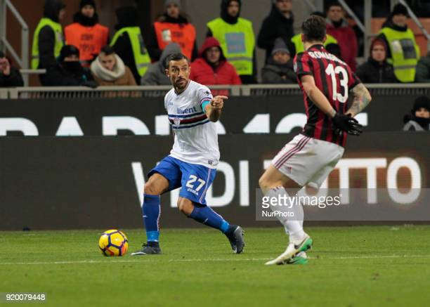 Fabio Quagliarella during the Italian Serie A football match between AC Milan and Sampdoria at the San Siro stadium in Milan on February 18 2018