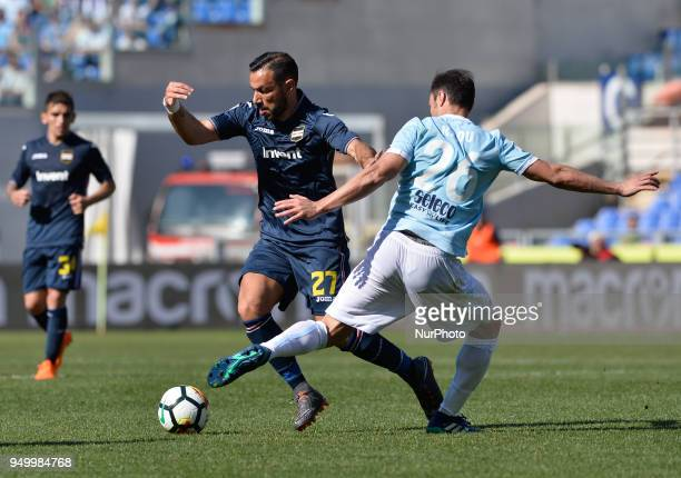 Fabio Quagliarella during the Italian Serie A football match between SS Lazio and US Sampdoria at the Olympic Stadium in Rome on april 22 2018