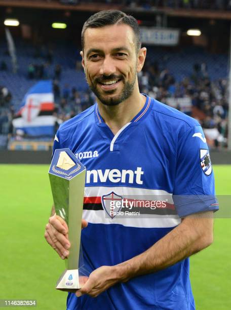 Fabio Quagliarella during the Serie A match between UC Sampdoria and Juventus at Stadio Luigi Ferraris on May 26 2019 in Genoa Italy
