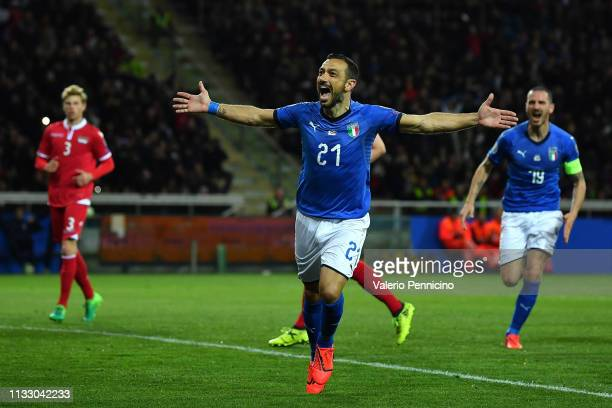 Fabio Quagliarella of Italy celebrates his goal of 30 during the 2020 UEFA European Championships group J qualifying match between Italy and...