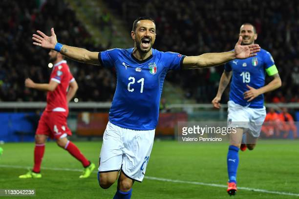 Fabio Quagliarella of Italy celebrates his goal of 3-0 during the 2020 UEFA European Championships group J qualifying match between Italy and...