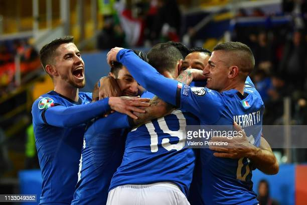 Fabio Quagliarella of Italy celebrates his goal of 4-0 with teammates during the 2020 UEFA European Championships group J qualifying match between...