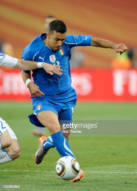 Fabio Quagliarella of Italy during the 2010 FIFA World Cup South Africa Group F match between Slovakia and Italy at Ellis Park Stadium on June 24,...