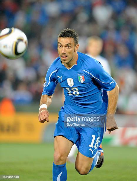 Fabio Quagliarella of Italy during the 2010 FIFA World Cup South Africa Group F match between Slovakia and Italy at Ellis Park Stadium on June 24...