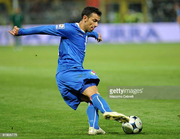 Fabio Quagliarella of Italy in action during the FIFA 2010 World Cup European Qualifying match between Italy and Cyprus at StadioEnnio Tardini on...