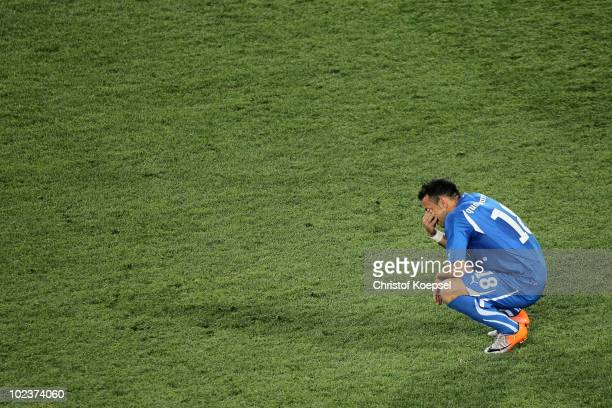 Fabio Quagliarella of Italy is dejected after being knocked out of the competition by Slovakia during the 2010 FIFA World Cup South Africa Group F...