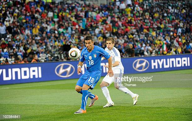Fabio Quagliarella of Italy watched by Peter Pekarik of Slovakia during the 2010 FIFA World Cup South Africa Group F match between Slovakia and Italy...