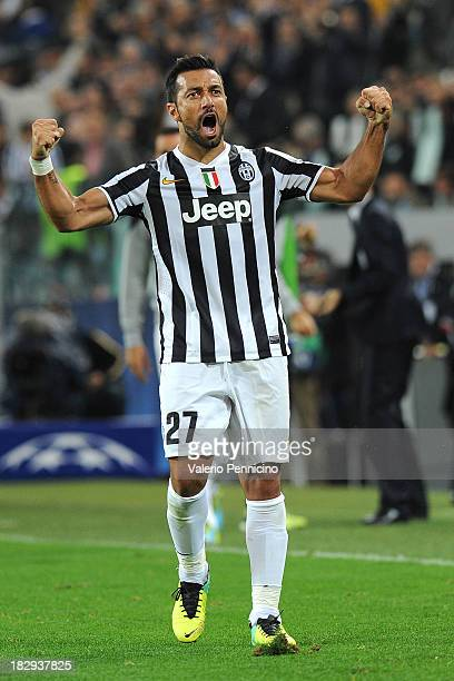 Fabio Quagliarella of Juventus celebrates after scoring his team's second goal during UEFA Champions League Group B match between Juventus and...