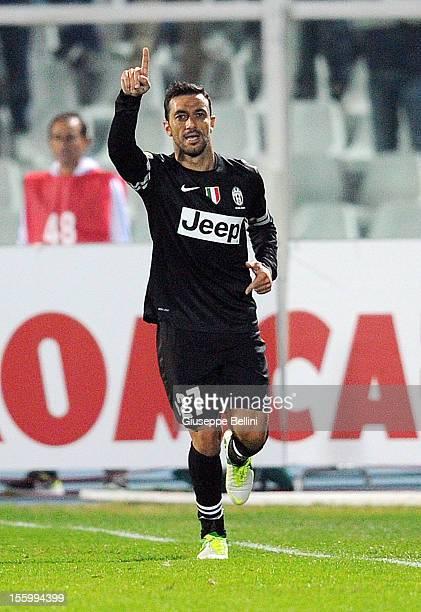 Fabio Quagliarella of Juventus celebrates after scoring the goal 1-5 during the Serie A match between Pescara and Juventus FC at Adriatico Stadium on...