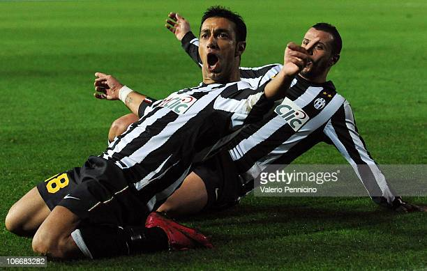 Fabio Quagliarella of Juventus FC after scoring the opening goal during the Serie A match between Brescia Calcio and Juventus FC at Mario Rigamonti...
