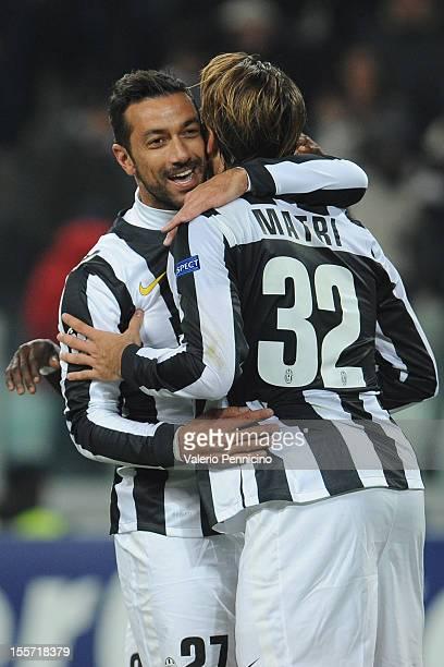 Fabio Quagliarella of Juventus FC celebrates his goal with teammate Alessandro Matri during the UEFA Champions League Group E match between Juventus...