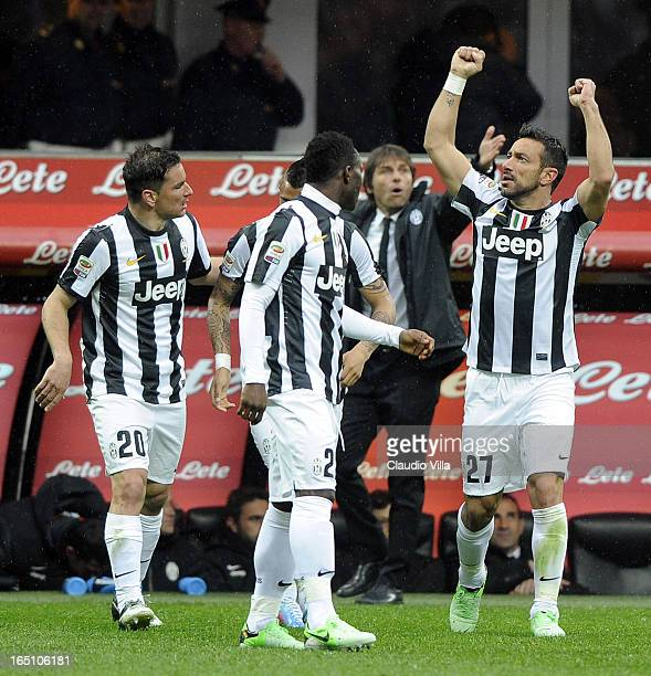 Fabio Quagliarella of Juventus FC celebrates scoring the first goal during the Serie A match between FC Internazionale Milano and Juventus FC at San...