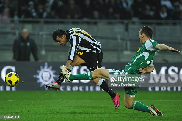 Fabio Quagliarella of Juventus FC shoots during the Serie A match between Juventus FC and AC Cesena at Olimpico Stadium on November 7 2010 in Turin...