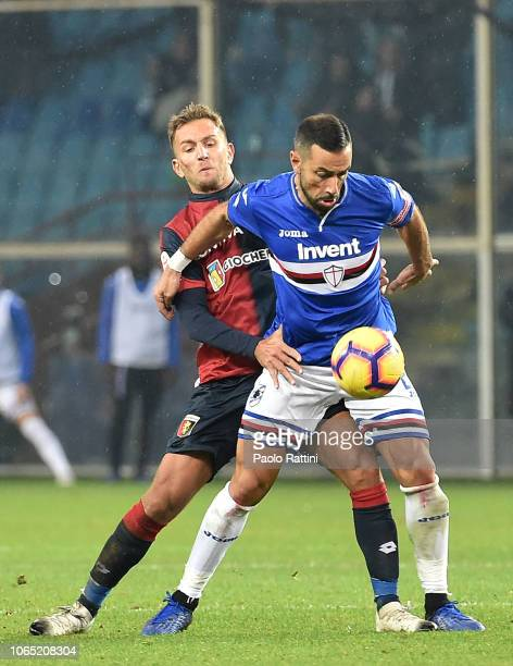 Fabio Quagliarella of Sampdoria and Domenico Criscito of Genoa during the Serie A match between Genoa CFC and UC Sampdoria at Stadio Luigi Ferraris...