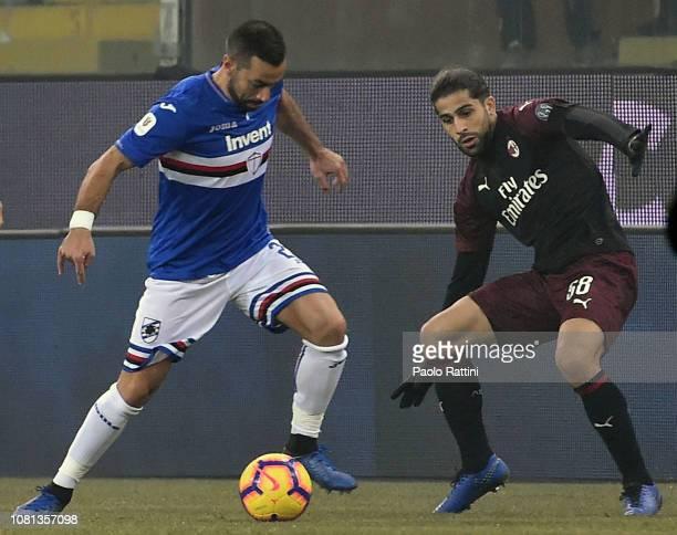 Fabio Quagliarella of Sampdoria and Ricardo Rodriguez of Milan during the Coppa Italia match between UC Sampdoria and AC Milan at Stadio Luigi...