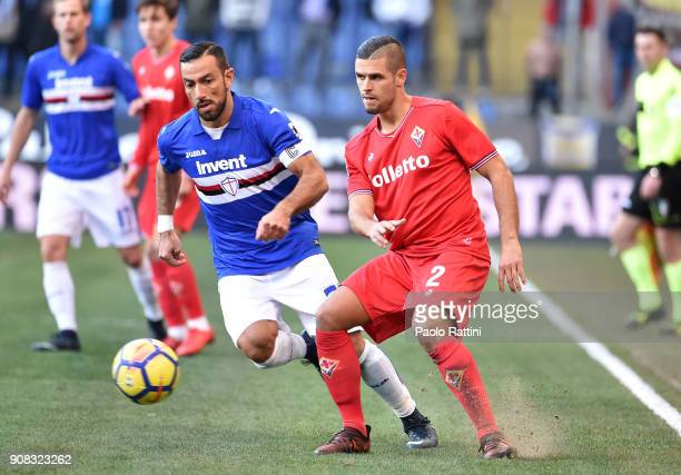 Fabio Quagliarella of Sampdoria and Vincent Laurini of Fiorentina during the serie A match between UC Sampdoria and ACF Fiorentina at Stadio Luigi...